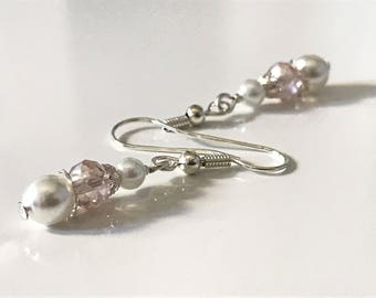 Earrings ~ pearls ~ Crystal ~ cream ~ white ~ silver