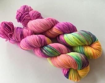 Sweet Peas In Sunshine Hand Dyed Superwash Merino/ Nylon Sock Yarn