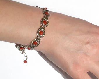 925 sterling Blood Red Coral sterling silver flower link bracelet