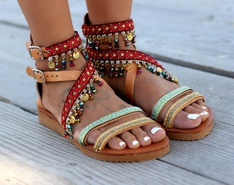 "Handmade leather sandals, Greek leather sandals, Boho sandals, ""Holi"""