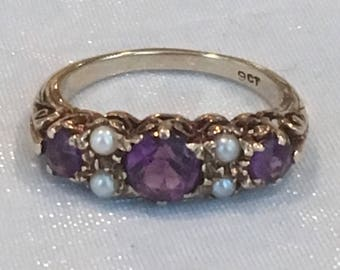 Antique Victorian 9K Gold Amethyst Seed Pearl Ring