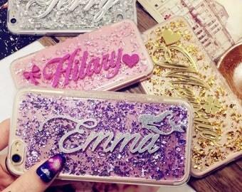 Personalised Custom Glitter Name iPhone 5 5S SE 6 6S 7 8 Plus X Phone Case