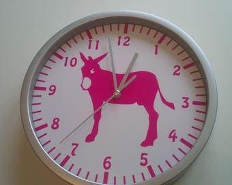clock wall decoration ane pink