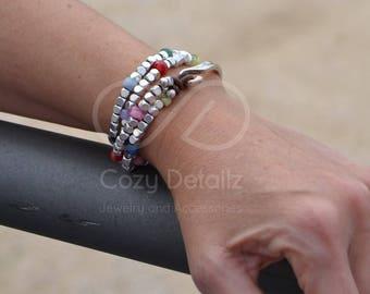 boho wrap bracelet, uno de 50 style, double strand bracelet, women leather bracelet, multicolor beaded bracelet, boho jewelry
