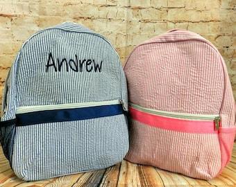Seersucker Preschool Toddler Backpacks Personalized Embroidered