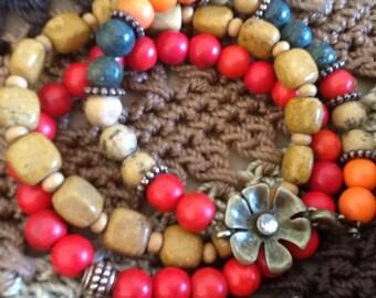Colorful Women's bracelet stack antiqued flower Arm Party