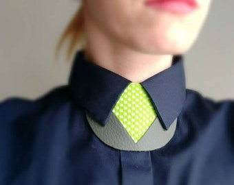 Greenish Leather & felt shirt necklace,unique collar accessory, unisex bow tie alternative, statement necklace, bold necklace, shirt tie