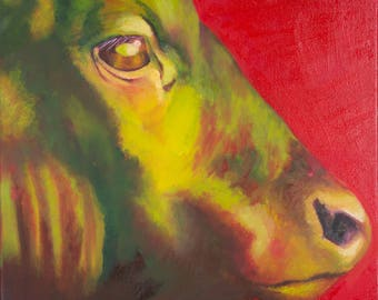 Limited Edition FRAMED PRINT of BULL in red and green from original oil painting