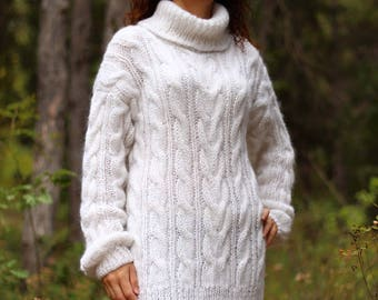 New hand knitted mohair sweater,White,Handmade pullover