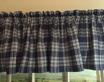 Blue & White Plaid Valance ~ 88 Inches Wide