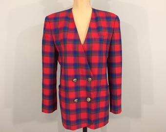 Womens Jackets Blazer Plaid Winter Jackets Fall Womens Blazers Collarless Double Breasted Red Blue Plaid Size 12 Large Womens Clothing