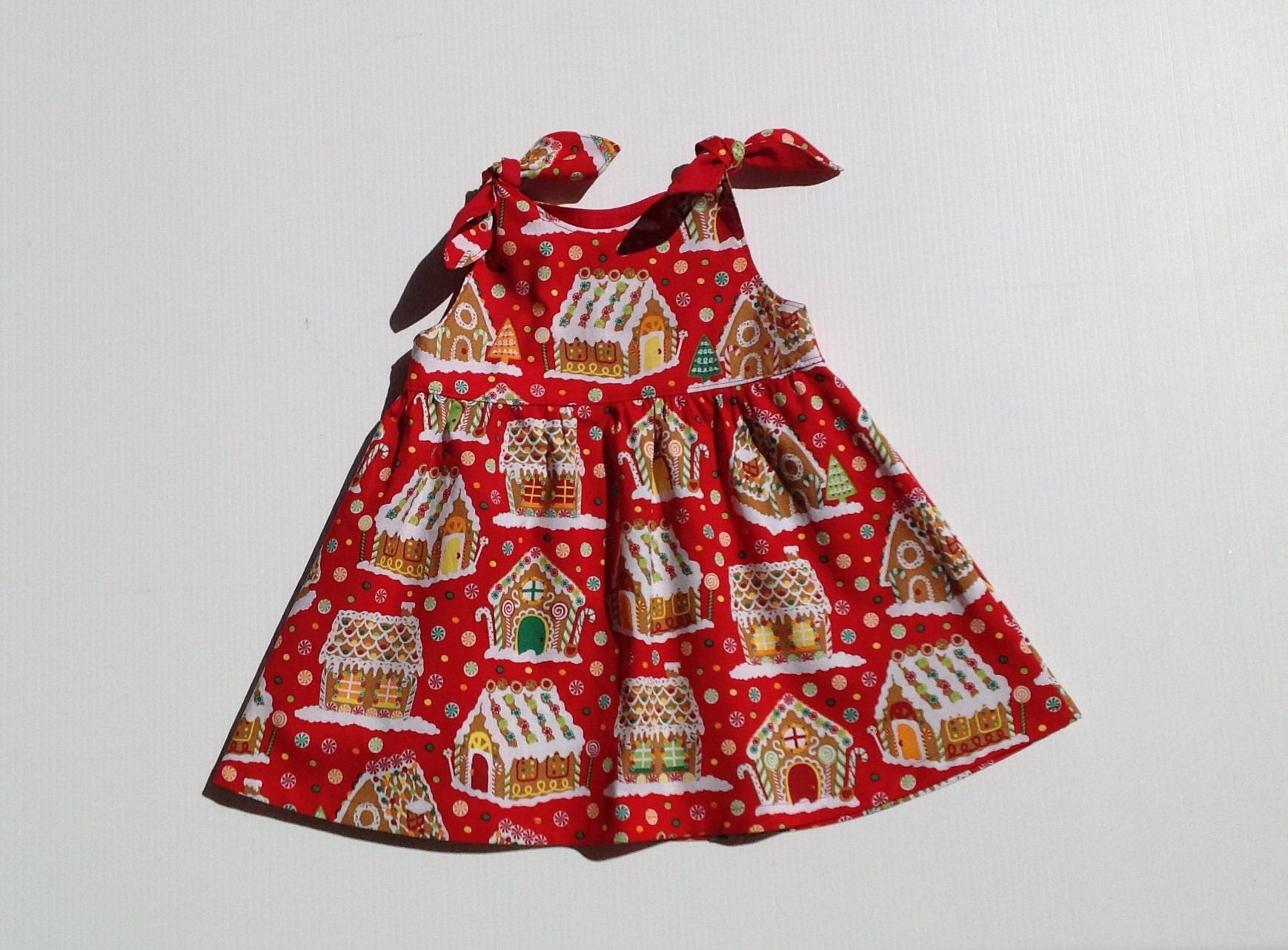 Baby girl Christmas dress gingerbread house dress girl red