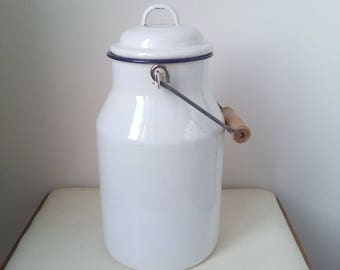 Kitchenalia - vintage White enamel milk can with lid  enamelware - milk pail pot