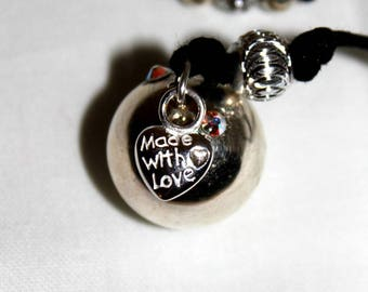 Pregnancy's Bola Bulan bola Xylophone rhinestone and silver heart charm