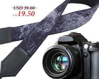 Grey DSLR Camera Strap. World Map Camera Strap. Camera accessories. Photographer gift.