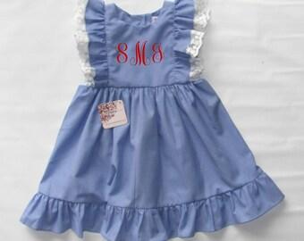 Back to School Monogram Dress, Girl Ruffled Monogrammed dress, Pinafore Girl Monogram Dress, Monogrammed Toddler Dress, FREE Personalization