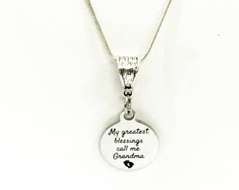 Grandma Necklace, My Greatest Blessings Call Me Grandma Necklace, Gift For Grandma, Grandmother Jewelry Gift, New Grandmother Gift
