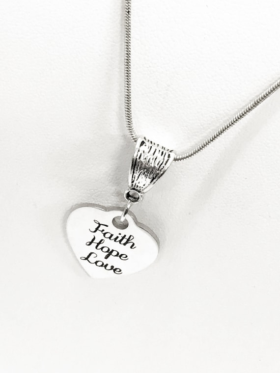 Love Gifts, Faith Hope Love Necklace, Love Jewelry Gifts, Christian Valentines Gifts, 1 Cor 13 Scripture Gifts, Christian Jewelry, 1 Cor 13