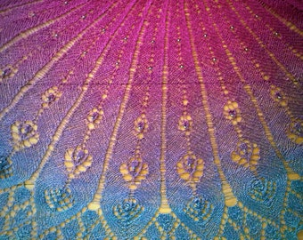 Hand dyed silk crescent shawl