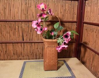 Fine Japanese Ikebana Flower Arrangement Bamboo Basket