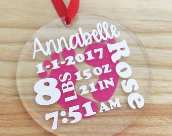Baby Stats Christmas Ornament -  baby Christmas Ornament - Stats ornament - Baby's First Christmas - Gift for new baby - Baby Birth Stats