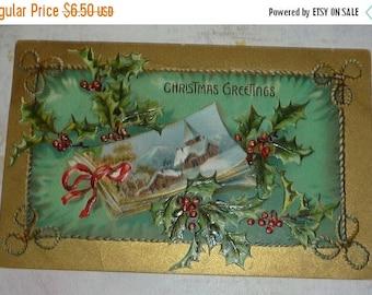 ON SALE till 7/28 Book and Holly TUCK Christmas Postcard