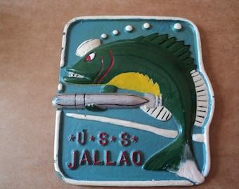 Naval Submarine U.S.S. Jallao Memorabilia Plaque In Service 1943-1974 United States Navy Sub Great Man Cave or Den Decor
