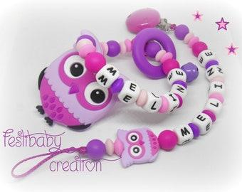 Ensemble cadeau Hibou, Greifling, personalized silicone teether, cadeau de naissance