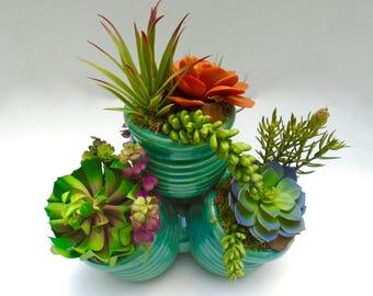 Deluxe Succulent Arrangement (Artificial) in Ceramic Planter - Table Centerpiece, Decorative Succulent Arrangement, Faux Succulents