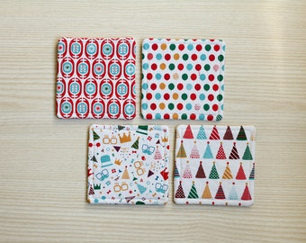 Set of 4 party decoration pattern fabric coasters