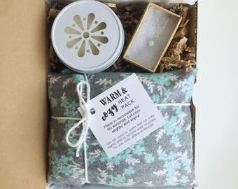 Spa gift sets, rice pack, new mom gift, relaxation gift, gift basket, wife gift, gift for mom, spa basket, necklace