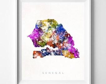 Senegal Map Print, Dakar Print, Senegal Poster, Map Poster, Watercolor Painting, Map Art, Wall Decor, Travel, Valentines Day Gift