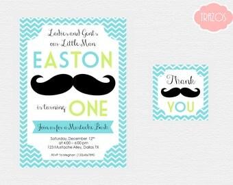 Mustache Invitation and Favor Tags - Mustache Bash - Printable