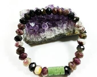 Tourmaline Bracelet -w/ High Grade Jadeite Jade, 8mm, Mix Color Tourmaline, Multicolor Tourmaline, Faceted Tourmaline Bracelet