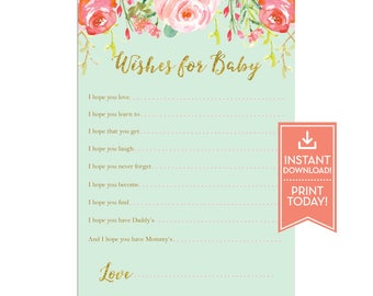 Wishes For Baby Card - Floral Teapot Printable - Printable Baby Shower Games - Instant Download - LR1050 Mint