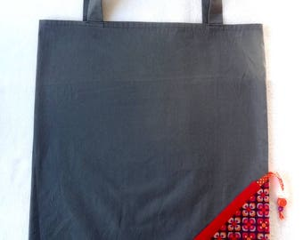 Tote Bag / eco-friendly tote bag / foldable bag pouch - grey and purple
