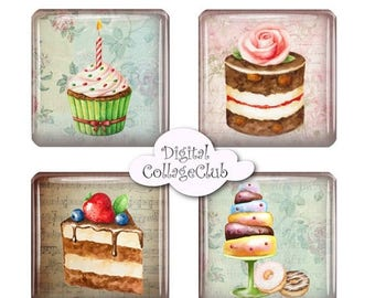 80 % off Summer Sale Shabby Chic Cupcake 1 inch Digital Collage Sheet Scrable Tiles Square Digital Images for Pendants, Scrapbooking, Decoup