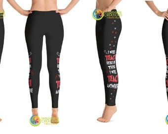 I Will Teach Here or There I Will Teach Anywhere Dr. Seuss Leggings - Black Leggings - Womens Athleisure Clothing - Cute  Leggings