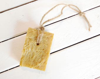 Free Shipping - Bergamot Turmeric Soap on a Rope, Natural Soap, Rustic Soap, Vegan Soap for Men, Natural Men's Soap, Homemade Natural Soap