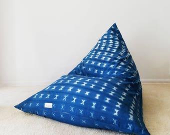 Indigo Shibori Mudcloth Boho Lounger®, Tie-dyed, Indigo, Blue, White
