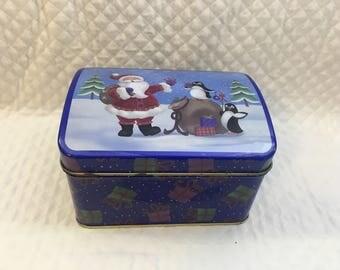Christmas Tin Box, Hinged Christmas Tin box, Santa and Penguins, Cookie Tin, Candy Tin, Domed Tin Box