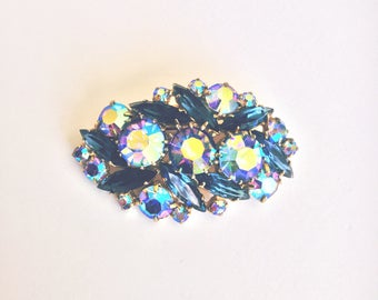 Vintage 1950s Blue Aurora Borealis Rhinestone and Glass Brooch