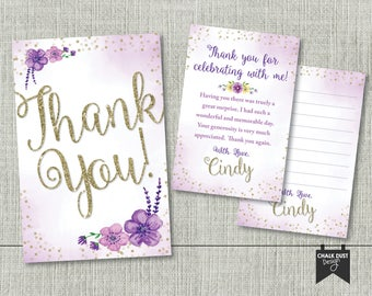 """Custom purple & gold watercolor floral design Thank You cards for any occasion. Digital file or Printed 4"""" x 6"""""""