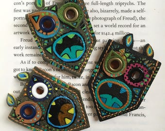 Book Monster Leather Bookmark | Magnetic Bookmark | Gift for Kids Cute Monster| Gift for Book Lovers | OOAK | Handpainted Unique Bookmark