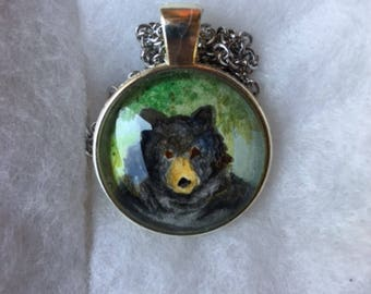 Glass dome jewelry, Bear jewelry, Watercolor painted jewelry, Glass, Charm necklace, Silver chain, Charm pendant,Glass dome pendant,