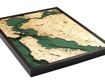 San Francisco / Bay Area Wood Carved Topographic Depth Map