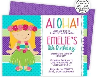 Luau Invitation, Hawaiian Invitations, Luau Birthday Invitation, Luau Party, Luau Party Invitations, Luau Invite, Luau Birthday, Luau   286