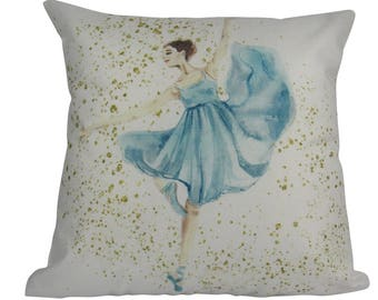 Blue Ballerina Standing Dance - Pillow Cover