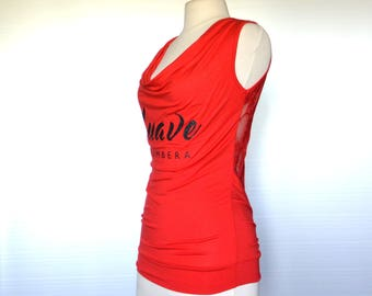 "Red Salsa top ""Suave Salsera"" lace back - one size"