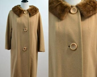 SUMMER SALE Vintage vtg 50 1950s 1960s 60s Regal Kismet Wool Overcoat Trenchcoat Fur Mink Trim Collar Medium M Large L Regal Kismet One Size